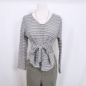 Front Tie Striped Grey Long Sleeve Top